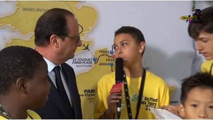 Tour de France 2014 à Reims avec François Hollande au micro de nos reporters de Média Pitchounes Toulouse @NetworkVisio